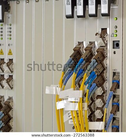 Fiber Optics with SC/LC connectors. Internet Service Provider equipment. Focus on fiber optic cables. Data Network Hardware Concept. - stock photo