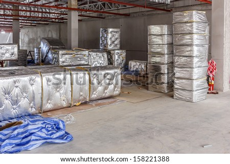 Fiberglass for new factory construction - stock photo