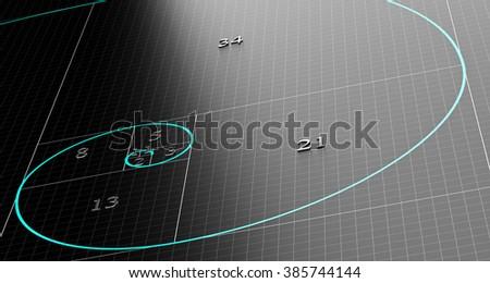 Fibonacci spiral over 3d black background with grid. Science or mathematics concept illustration. - stock photo