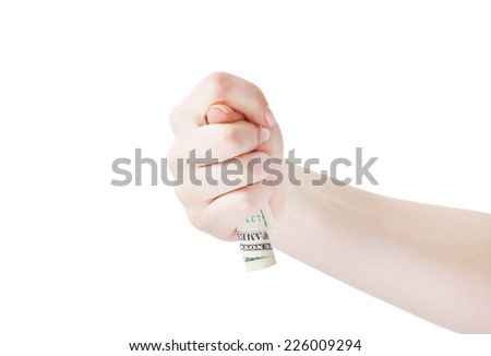 Fico gesture of a hand holding money on a white background