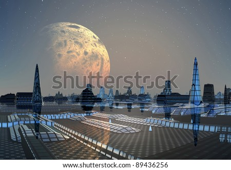 Fictional City Skyline, 3d rendered skyline on an alien planet, with a moon and stars, without clouds