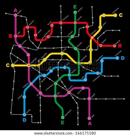 Fictitious City Public Transport Scheme on Black Background - stock photo