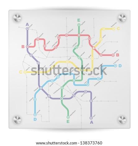 Fictitious City Public Transport Scheme on Transparent Signboard - stock photo