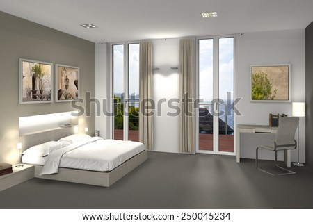 fictitious 3D rendering of a bedroom or hotel room - stock photo
