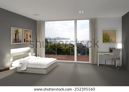 fictitious 3D rendering of a bedroom or hotel room with a view to the sea