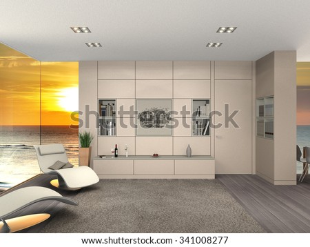 fictitious 3D rendering of a modern living room interior with a view to the sea and sunset