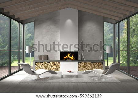 Fictitious 3D Rendering Of A Modern Living Room Interior With Fire Place  And View To The Part 59