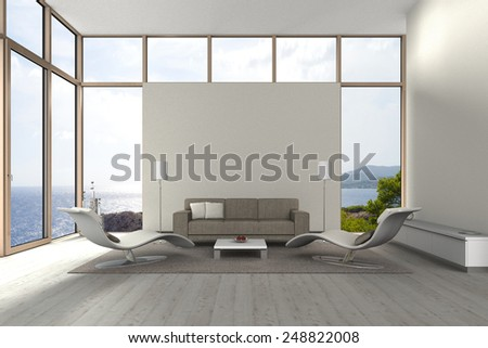 fictitious 3D rendering of a modern living room with a view to the sea - stock photo