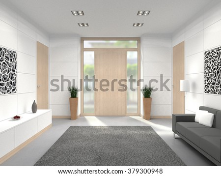 fictitious 3D rendering of a modern lobby interior with wooden front door - stock photo