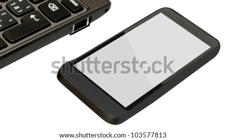 Fictitious Mobile Phone and Notebook on White Background With Clipping Path