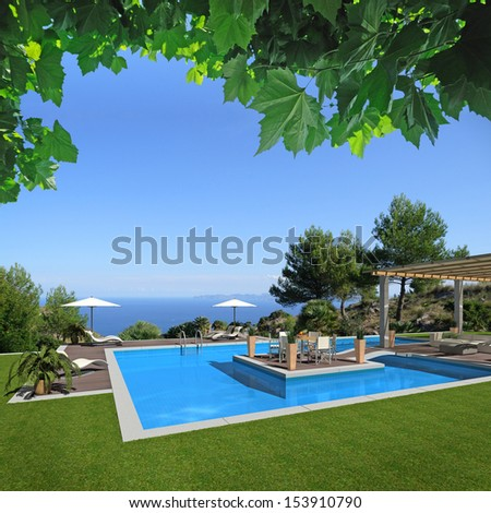 FICTITIOUS swimming pool scenery with  a beautiful view to the sea - 3D rendering; the photo in the background is taken by me; the rest of the scene is designed by me an does not exist in reality - stock photo