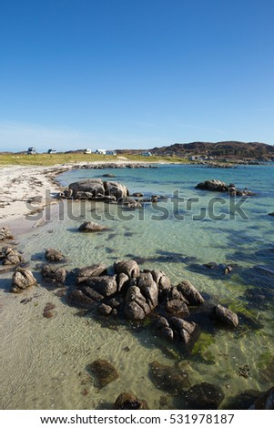 Fidden beach Isle of Mull Scotland uk near Iona and Fionnphort one of the best natural Scottish beaches with clear blue sea and white sand