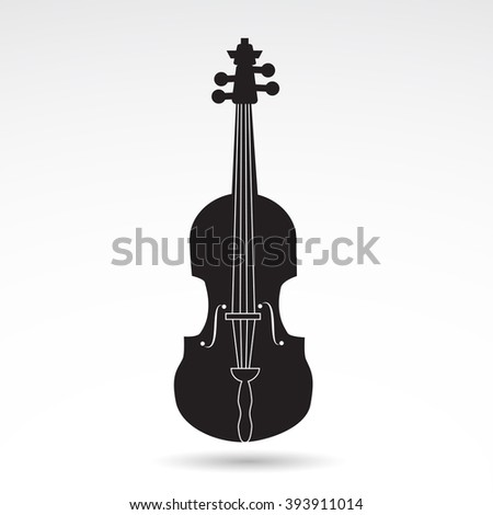Fiddle, violin, music instrument icon on white background. - stock photo