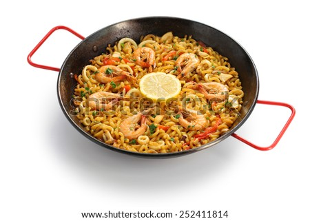 fideua de marisco, seafood pasta paella, spanish cuisine isolated on white background - stock photo