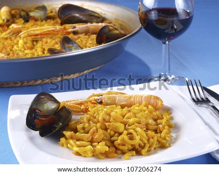Fideua � Noodle paella - stock photo