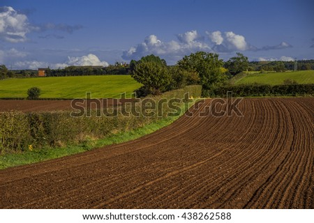 field agriculrural landscape UK - a view across farmland in the english midlands, worcestershire UK
