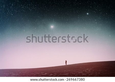 field at night. Elements of this image furnished by NASA. Photo instagram style. vintage retro - stock photo