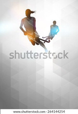 Field hockey sport invitation poster or flyer background with empty space - stock photo