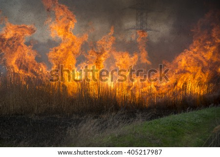 field in uncontrolled fire with smoke