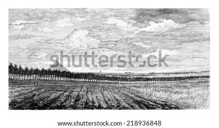 Field in Waterloo, Belgium, drawing by Taelemans, vintage illustration. Le Tour du Monde, Travel Journal, 1881 - stock photo