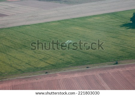 Field Irrigation aerial view in france farmland