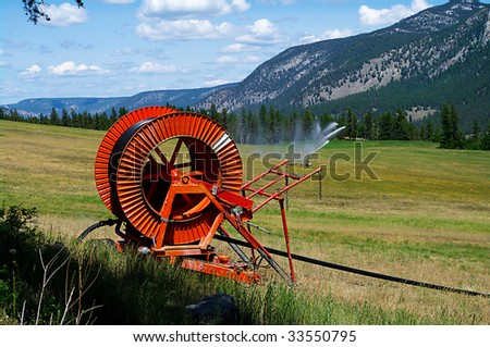 Field irrigation with scenic background