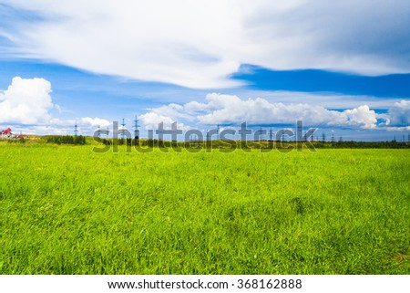 Field Landscape Green Plain  - stock photo