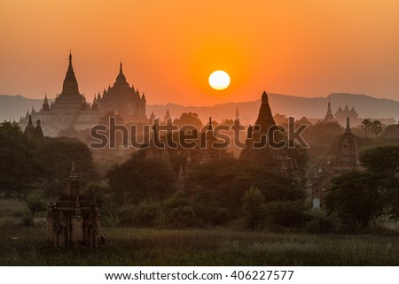 Field of ancient pagoda at Old Bagan Myanmar during sunset