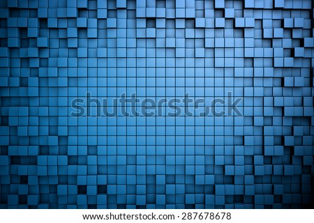 Field of blue 3d cubes. 3d render background image - stock photo