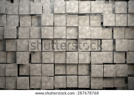 Field of brown square plates with stone texture. 3d render image - stock photo