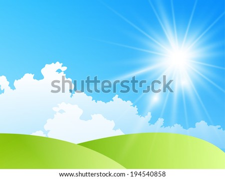 field of daisies with bright sun - stock photo