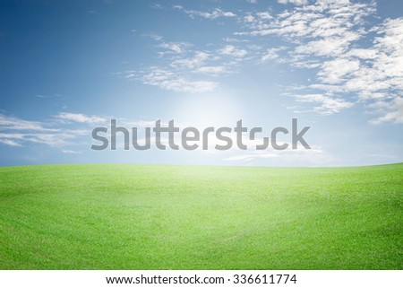 field of grass and beautiful sky and cloud with sun , for background