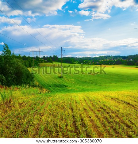 Field of green grass and blue sky. Hilly terrain. Rural landscape. Sunny day in the countryside. - stock photo