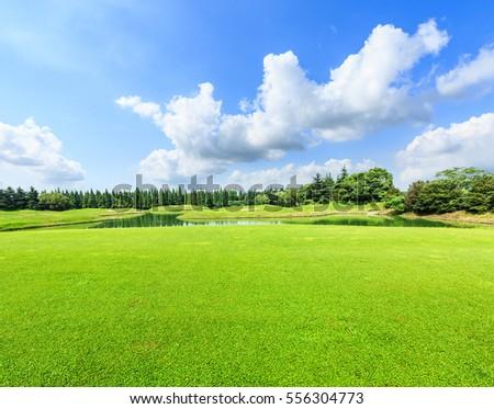 green grass blue sky. Fine Green Field Of Green Grass And Blue Sky In Summer Day With Green Grass Blue Sky E