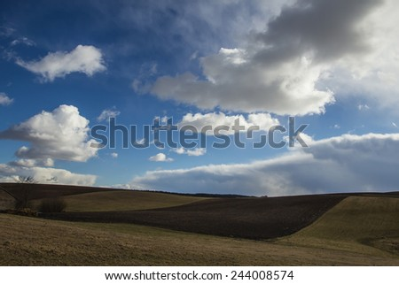 Field of white clouds