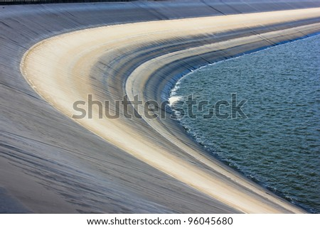 field rive and mountain - stock photo