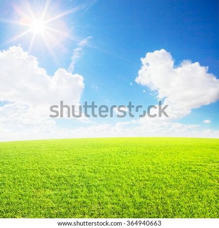 Field under blue clouds sky. Beauty nature background