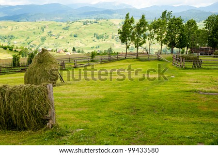 Field with haystack on mountains meadow