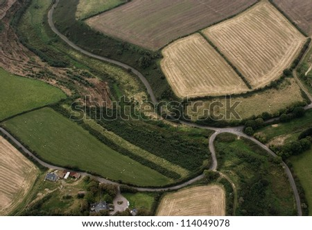 Fields, aerial view - stock photo