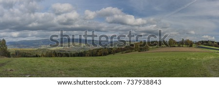 Fields and meadows near Roprachtice village in autumn day