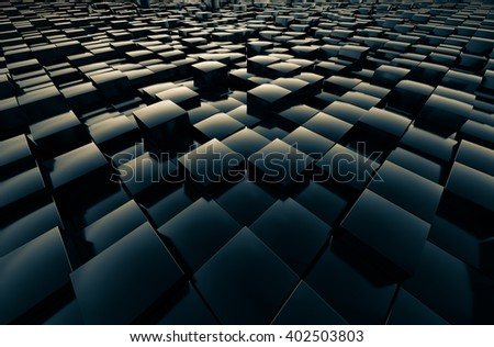 Fields cubic reflective shiny abstract 3D rendering.