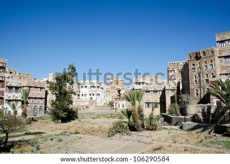 Fields in old Sanaa city, Yemen. - stock photo