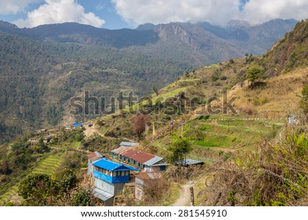 Fields in the Nepalese village on the track to the base camp of Annapurna. - stock photo