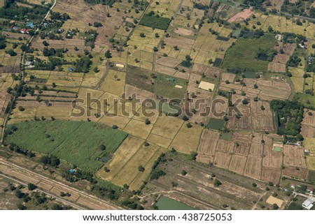 Fields near the city of Buri Ram in Isan in Thailand.