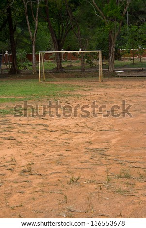 Fields of the poorest schools in the outlying rural prosperity. - stock photo