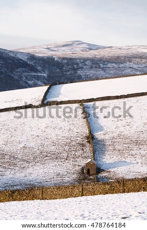 Fields with Dry stone walls in snow
