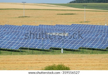 Fields with lots of solar panels