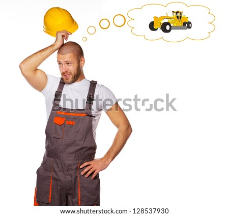 Fieldworker is thinking about his lost tractor - stock photo