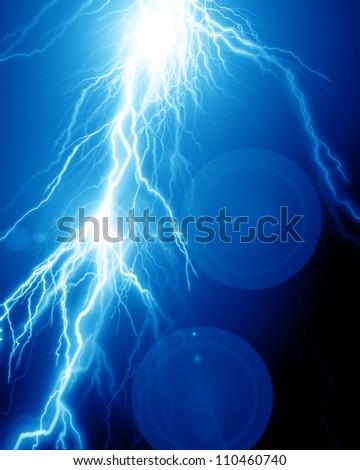 Fierce lightning - stock photo