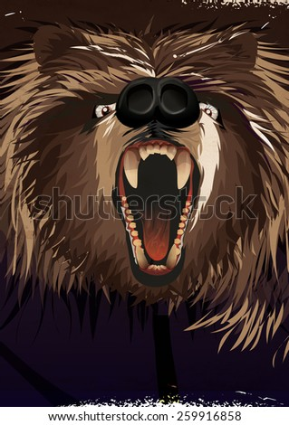 Fierce Werewolf , this is a illustration of a growling nasty Werewolf monster. - stock photo